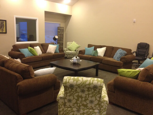 The upstairs living room at the Nightingale House at New Haven Residential Treatment Center