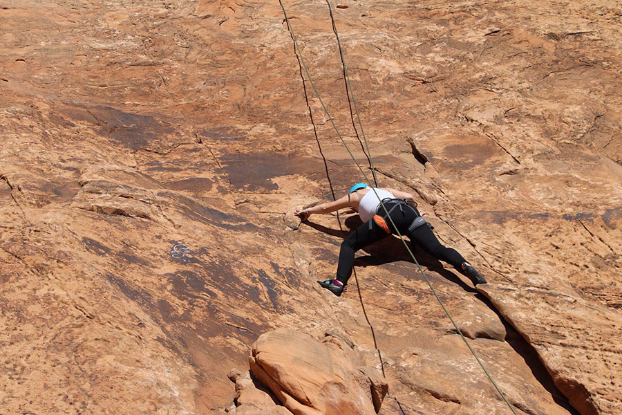 Families Rock Climb while on New Haven Residential Treatment Center's Family Camping Trip to Moab.